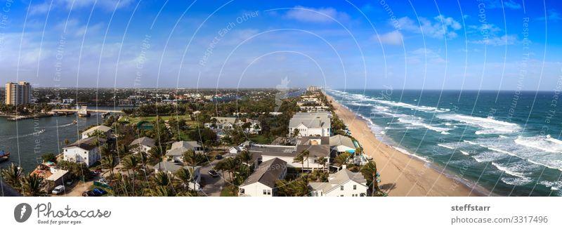 Luftaufnahme von Hillsboro Beach Meer Natur Landschaft Schönes Wetter Küste Fluggerät blau Hillsboro-Einlass Pompano Strand Florida Blauer Himmel Küstenstreifen