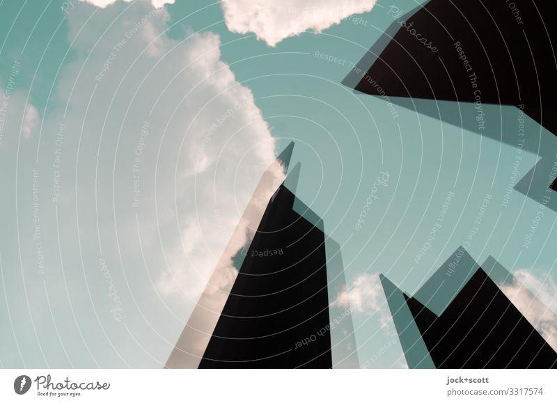 Sperrig mit Kanten im festen Rahmen Skulptur Himmel Wolken Schönes Wetter Berlin-Mitte Turm außergewöhnlich eckig einfach einzigartig türkis Stimmung Kraft