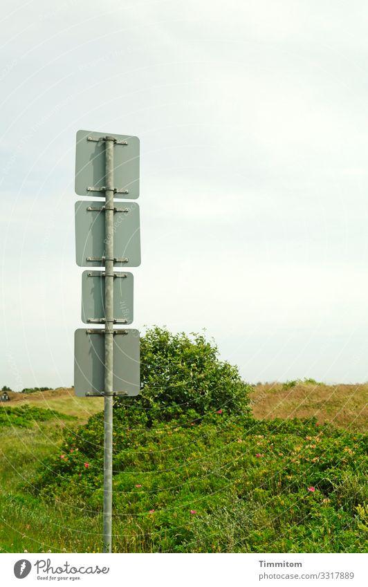 Schilderquartett Ferien & Urlaub & Reisen Umwelt Natur Landschaft Pflanze Himmel Wolken Gras Sträucher Düne Dänemark Verkehr Verkehrszeichen Verkehrsschild