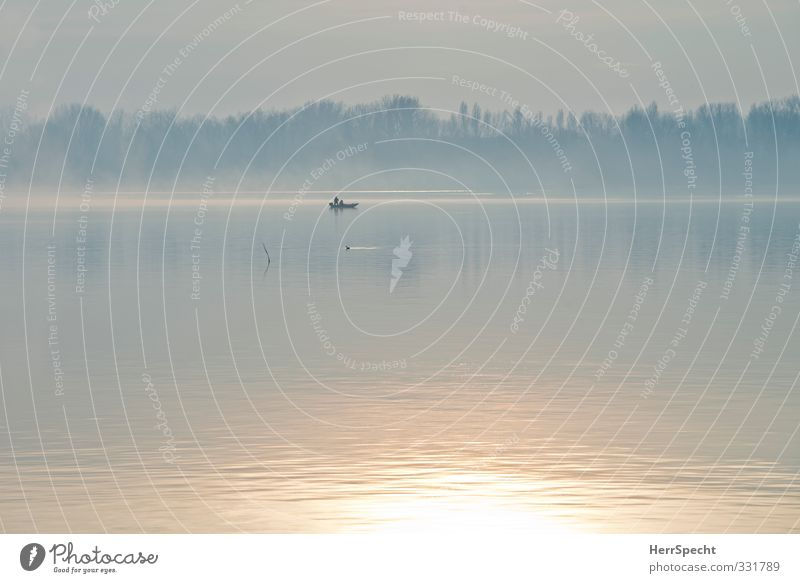 Frühsport Angeln Umwelt Natur Schönes Wetter Nebel Seeufer grau Fischer Angler Morgendämmerung Einsamkeit ruhig Wasserfahrzeug Motorboot Farbfoto