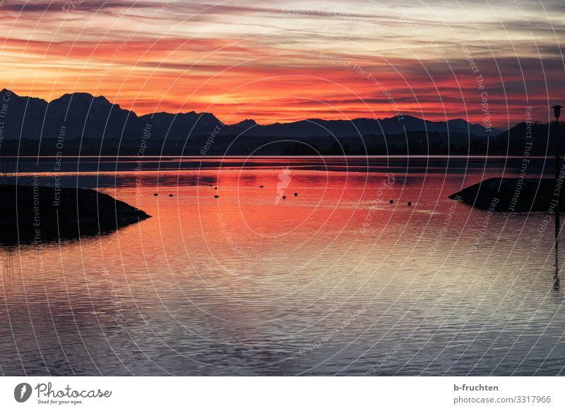 Meditative Abendstimmung harmonisch Zufriedenheit Erholung ruhig Meditation Natur Landschaft Wasser Wolken Sonnenaufgang Sonnenuntergang Herbst Winter