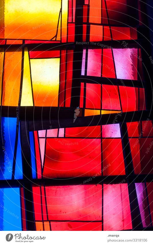Kirchenfenster Religion & Glaube Glas bunt abstrakt Licht rot gelb blau schwarz Linie außergewöhnlich einzigartig mehrfarbig chaotisch Dekoration & Verzierung