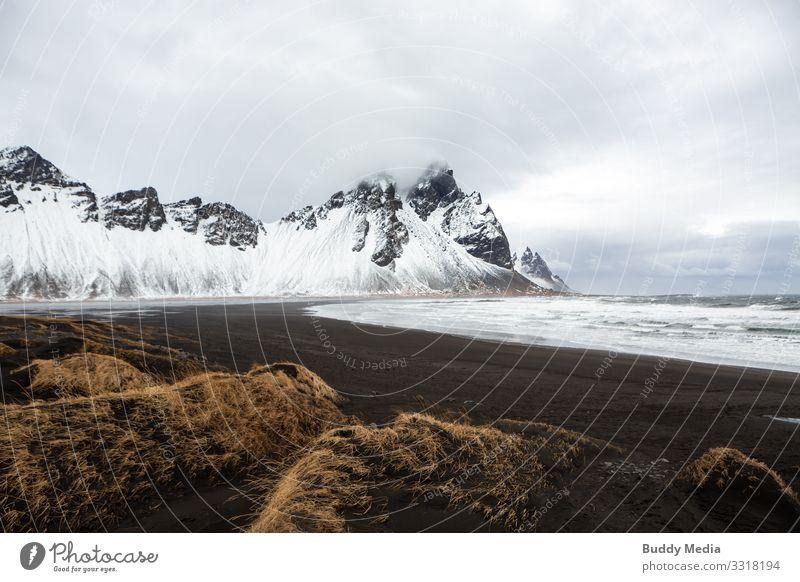 Stokksnes - Black Sand Beach in Island Ferien & Urlaub & Reisen Expedition Berge u. Gebirge Natur Landschaft Erde Wasser Himmel Wolken Frühling Wetter Wind Gras