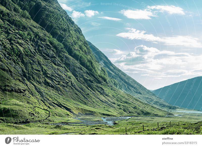 GLENCOE 4 Natur Landschaft Berge u. Gebirge grün Tal Schottland Highlands Ferien & Urlaub & Reisen wandern Idylle Farbfoto Außenaufnahme Menschenleer
