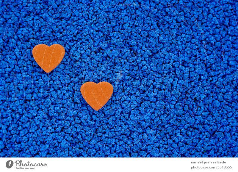 Orangenherz-Dekoration für den Valentinstag Herz Liebe blau orange Hintergrundbild Farbe mehrfarbig Symbole & Metaphern Romantik Feste & Feiern Gefühle