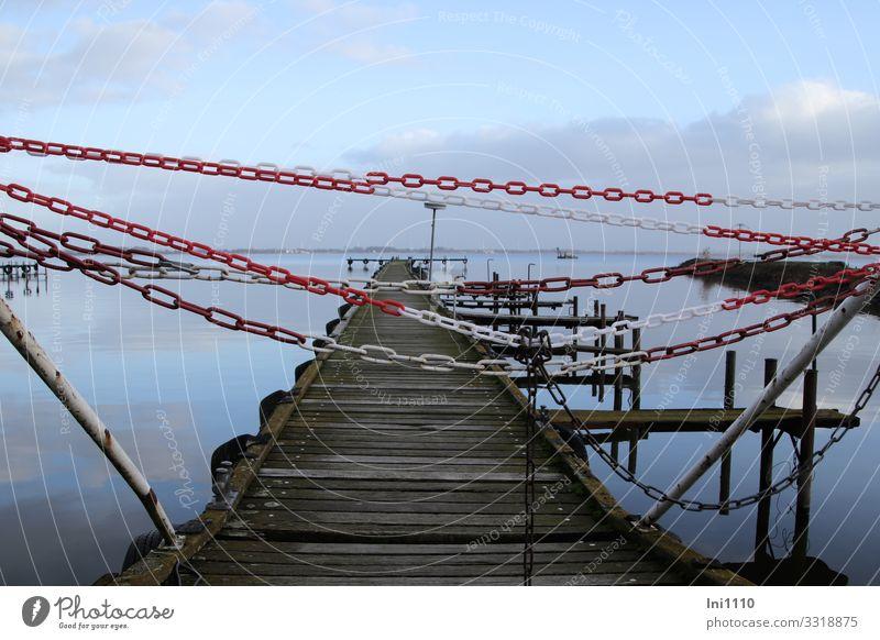 Bootssteg Freizeit & Hobby Natur Landschaft Luft Wasser Himmel Wolken Winter Seeufer Dümmer See Holz blau braun grau rot weiß Anlegestelle geschlossen