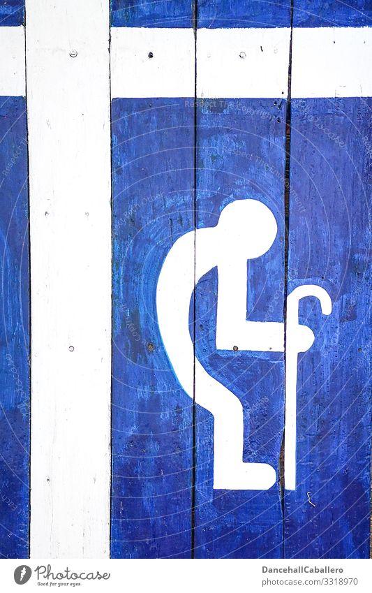 Piktogramm von Mann mit Gehhilfe auf blauem Hintergrund Senior Großvater 60 und älter Männlicher Senior Mensch alt Gehilfe weiß gebückte Haltung rückenschmerzen