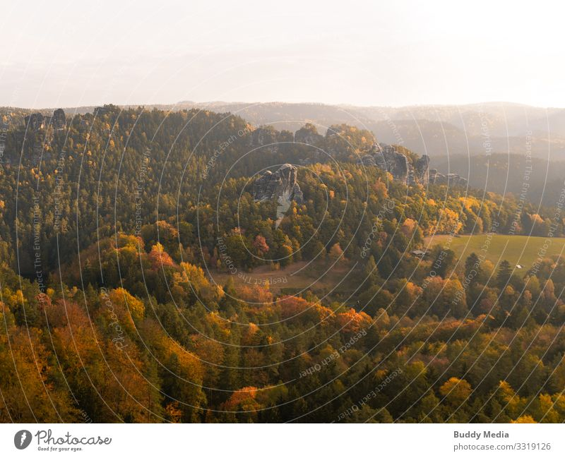 Sächsische Schweiz im Morgenglanz Tourismus Abenteuer Ferne Expedition Berge u. Gebirge wandern Umwelt Natur Landschaft Himmel Horizont Sonne Sommer Herbst