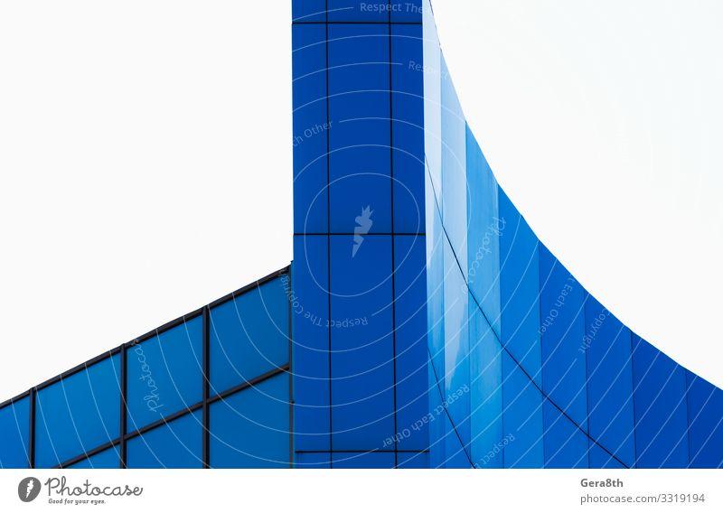 Wandfragment eines modernen blauen Gebäudes Stil Design Haus Büro Business Architektur Fassade Linie einfach weiß Farbe Hintergrund Klotz Großstadt Element leer