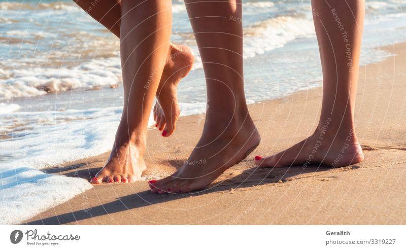 weibliche Füße auf einem Sandstrand der Meeresbrandung schön Körper Haut Erholung Ferien & Urlaub & Reisen Tourismus Sommer Strand Wellen feminin Frau