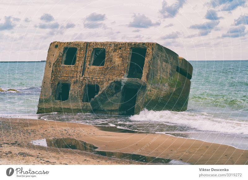 Fragmente einer alten Festung auf See Ferien & Urlaub & Reisen Sightseeing Sommer Sonne Strand Meer Insel Natur Landschaft Sand Himmel Wolken Horizont Felsen