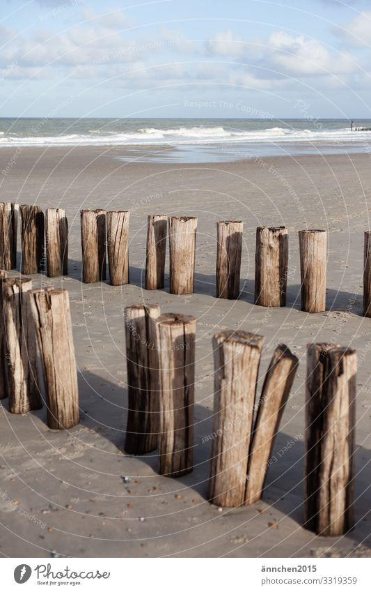Strandliebe Sand Holz Holzpfahl Meer Himmel Wolken Außenaufnahme Ferien & Urlaub & Reisen Erholung Sommer Fernweh Wasser braun blau weiß