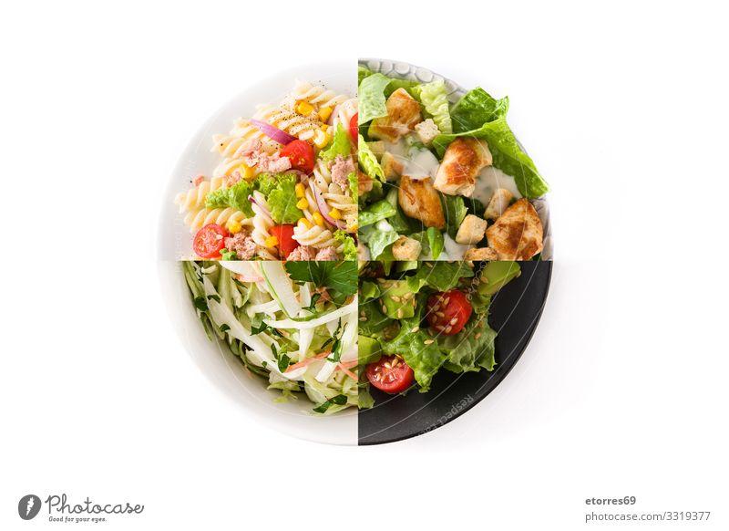 Collage aus gesunden Salaten, isoliert auf weißem Hintergrund Salatbeilage Krautsalat Wassermelone Nudeln Spätzle Avocado Thunfisch Gemüse Gesundheit