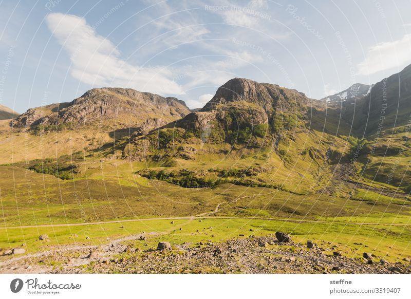 GLENCOE 6 Natur Landschaft Schönes Wetter Felsen Berge u. Gebirge Gipfel Fitness wandern Ferien & Urlaub & Reisen Schottland Highlands Glencoe Klimawandel