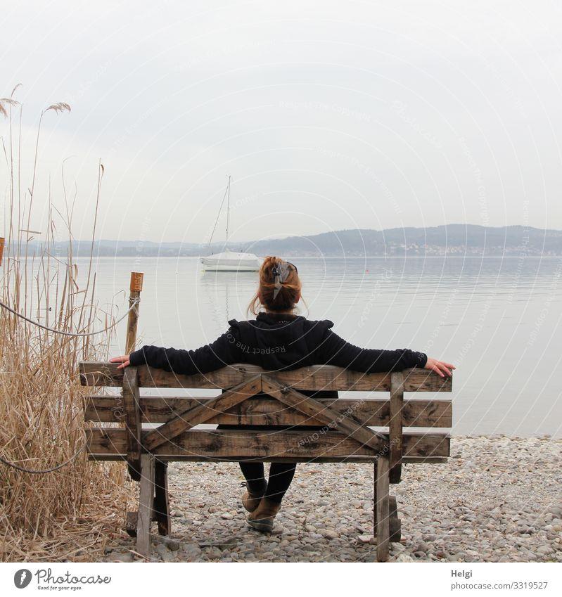 Rückansicht einer Frau, die auf einer Holzbank sitzt und auf einen See blickt Mensch feminin Erwachsene 1 45-60 Jahre Umwelt Natur Landschaft Pflanze Wasser