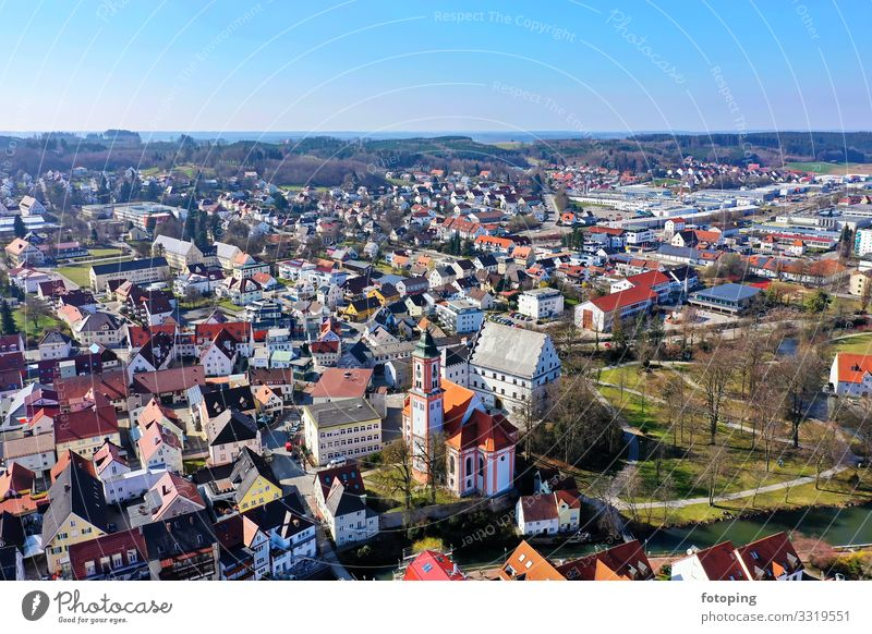 Krumbach schön Tourismus Ausflug Sightseeing Städtereise Sommer Sonne Wetter Stadt Altstadt Architektur Sehenswürdigkeit Wahrzeichen Denkmal historisch blau