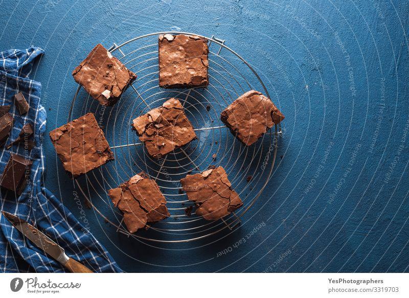 Brownies-Kuchenquadrate auf einem Kühlgestell. Schoko-Fudge-Brownies Dessert Süßwaren Schokolade lecker süß blau braun obere Ansicht amerikanischer Nachtisch