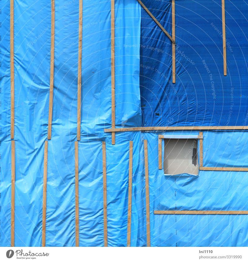 Schutzhülle II Handwerker Arbeitsplatz Baustelle Kunststoffverpackung Holz Arbeit & Erwerbstätigkeit Folie Holzbrett blau Loch Abrissgebäude Sicherheit Staub