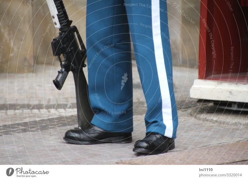 im Dienst Beruf Team maskulin Mann Erwachsene Beine 1 Mensch Kopenhagen Dänemark Sehenswürdigkeit Denkmal blau rot weiß Schutz Gewehr Waffe Uniform Schuhe