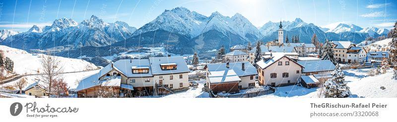 Unterengadin Natur blau weiß ftan Engadin Panorama (Aussicht) Panorama (Bildformat) Haus Schnee Winter Berge u. Gebirge Sonne Blauer Himmel Kirche Dorf Schweiz