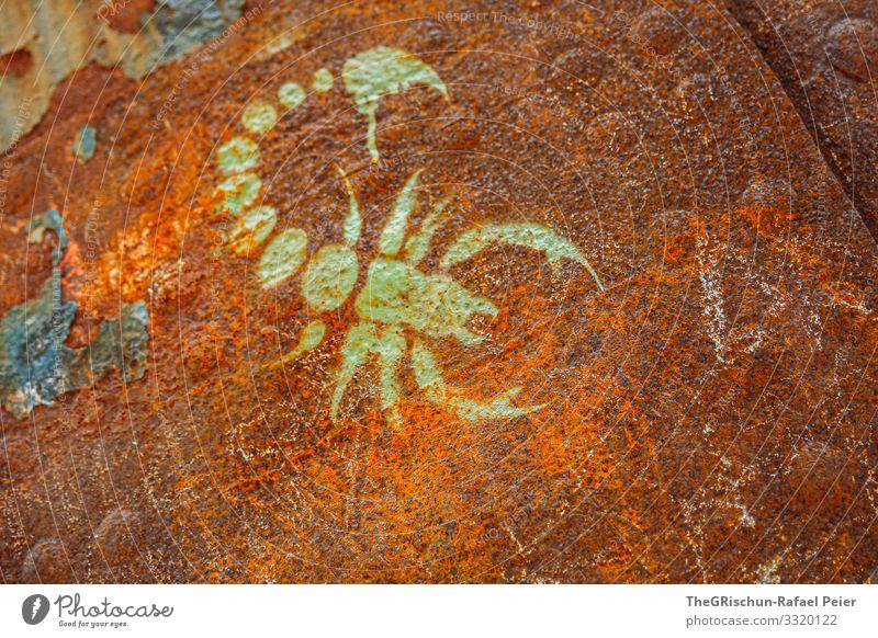 Rost Kunst braun grün Zeichnung Metall malen Skorpion verunstalten Nieten Wasserfahrzeug abblättern Farbfoto Außenaufnahme Detailaufnahme Menschenleer