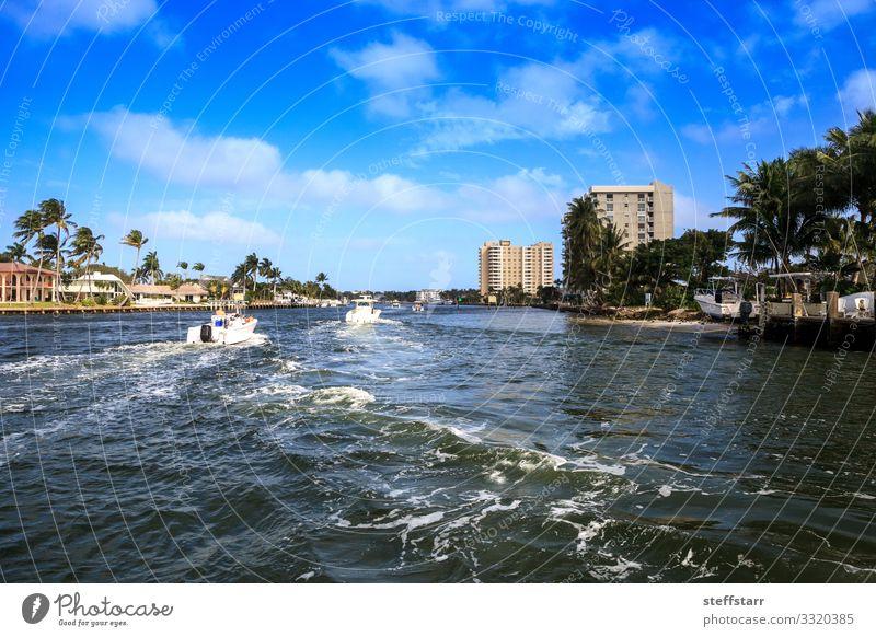 Der Hillsboro Inlet Waterway führt nach Hillsboro Beach Meer Natur Landschaft Küste Brücke blau Wasserstraße Flussstraße Pompano Strand Florida Küstenstreifen