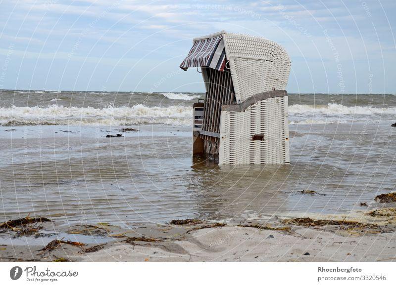überfluteter Strandkorb an der Ostsee Schwimmen & Baden Freizeit & Hobby Ferien & Urlaub & Reisen Sommerurlaub Meer Umwelt Natur Landschaft Urelemente Wasser