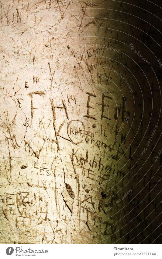 Geschriebenes | in altem Turm Mauer Wand Stein Zeichen Schriftzeichen dunkel braun schwarz Gefühle Vergangenheit Putz gekratzt Farbfoto Innenaufnahme