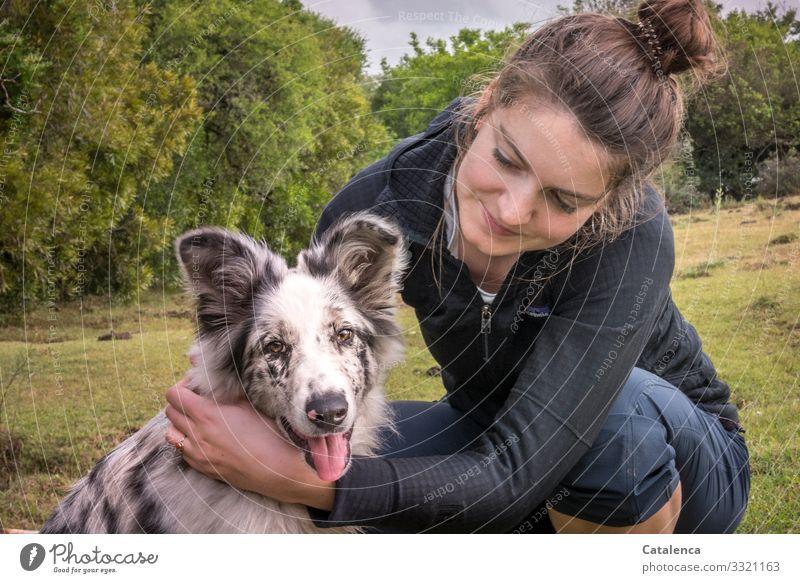 Die junge Frau umarmt lächelnd ihren Hund der interessiert in die Kamera schaut Mensch weiblich Junge Frau Tier Haustier verspielt hechelnd schauen Glück