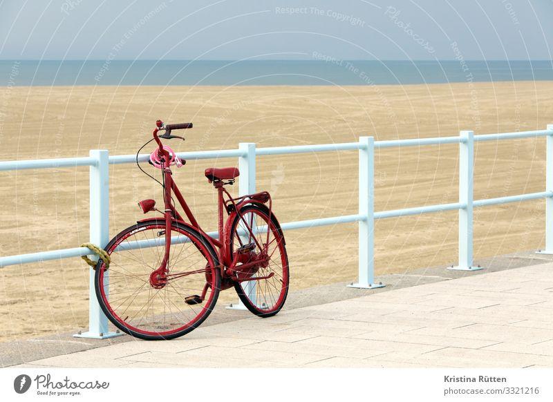 rotes rad Lifestyle Ferien & Urlaub & Reisen Ausflug Strand Fahrradfahren Landschaft Küste Verkehrsmittel blau Freiheit nachhaltig Umweltschutz Ferne