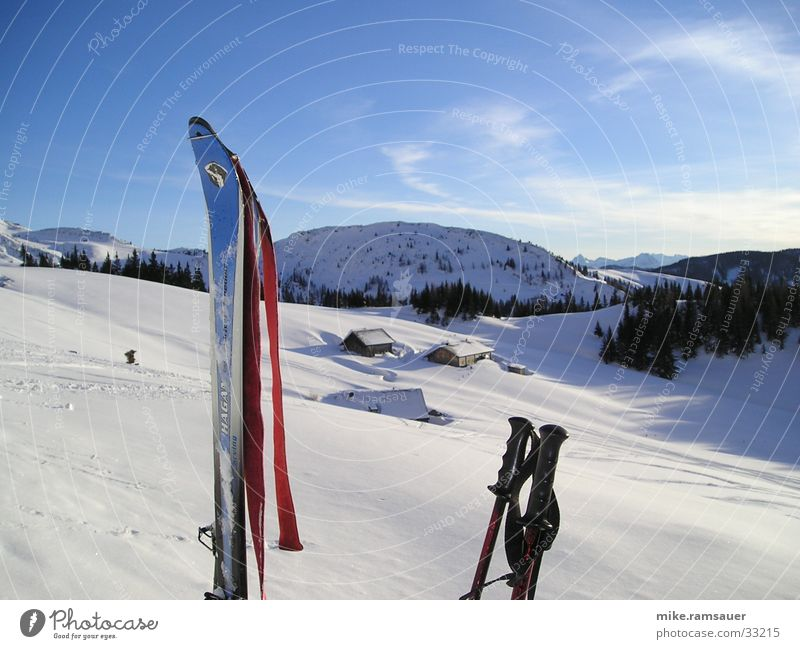 Ski-Sky Winter Schnee Berge u. Gebirge Skifahren Alm