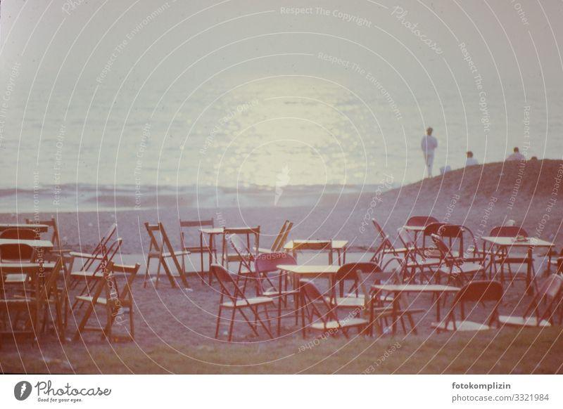 strand cafe Stil Ferien & Urlaub & Reisen Tourismus Ferne Sommer Sommerurlaub Strand Meer Strandbar Sonnenaufgang Sonnenuntergang beobachten Blick retro