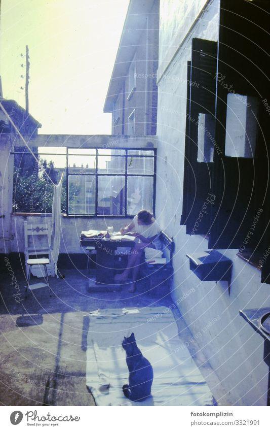 sommer stadtterasse Sommer Wohnung Traumhaus Terrasse Balkon Junge Frau Jugendliche 1 Mensch Altstadt Katze Tier Erholung schreiben Häusliches Leben heiß retro