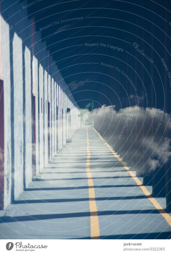 Neue Leitlinie Wolken Schönes Wetter Gebäude Säule Durchgang Wege & Pfade Fahrradweg Umleitung Linie Wegweiser Leitfaden außergewöhnlich frei einzigartig lang