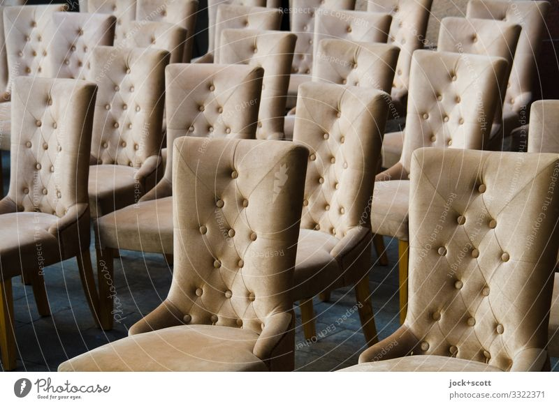 Stühle zu 78% reduziert! elegant Stil Design Handel Sammlung Nieten neu viele Einigkeit Ordnungsliebe gleich Symmetrie Lagerplatz Stuhlreihe Produktion