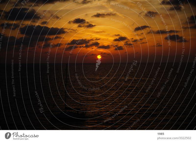 Sonnenuntergang Freizeit & Hobby Natur Wasser Himmel Wolken Horizont Sonnenaufgang Wellen Meer genießen Blick träumen Ferne Unendlichkeit gelb gold orange