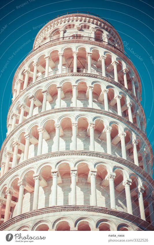 Nahaufnahme des schiefen Turms von Pisa Vintage Retro getönt antik Kunst Anziehungskraft Pisa-Turm Konstruktion Historie Quadrat Murmel Erbe