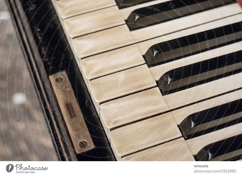 Nahaufnahme eines alten Klaviers mit Patina Musik Kultur Konzert Musikinstrument authentisch ästhetisch Bildung Nostalgie Gedeckte Farben Innenaufnahme
