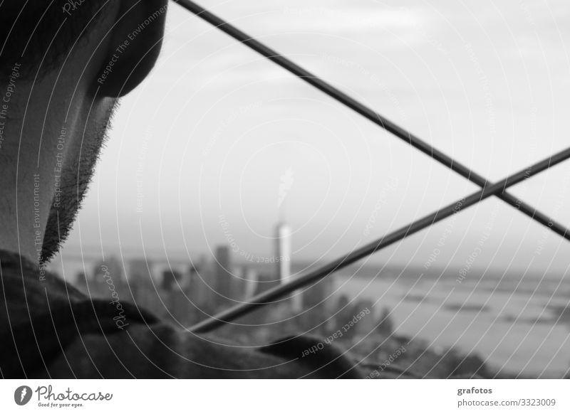 Sehnsucht Stil Zufriedenheit ruhig Ferien & Urlaub & Reisen Ferne Städtereise Mensch maskulin Junger Mann Jugendliche Kopf Bart 1 18-30 Jahre Erwachsene