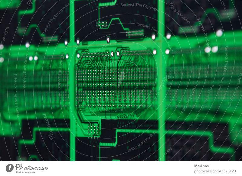 Hintergrund zur Technologie von Computer-Schaltkreisen. Design Industrie Medienbranche Telekommunikation Technik & Technologie grün Motherboard elektronisch