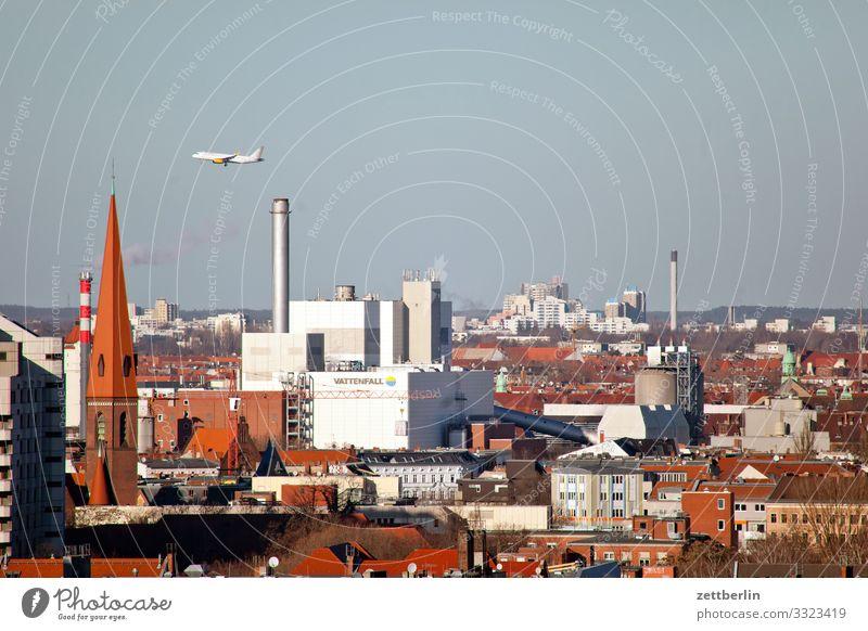 Flugverkehr über Moabit Berlin Großstadt Deutschland Ferne Hauptstadt Horizont Ferien & Urlaub & Reisen Reisefotografie Skyline Stadt Tourismus Stadtleben