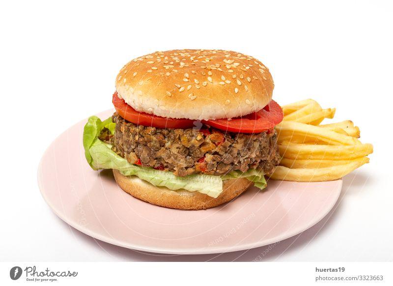 Hausgemachter Veganer-Linsen-Burger Lebensmittel Gemüse Brot Mittagessen Vegetarische Ernährung Diät Lifestyle Gesunde Ernährung frisch natürlich grün