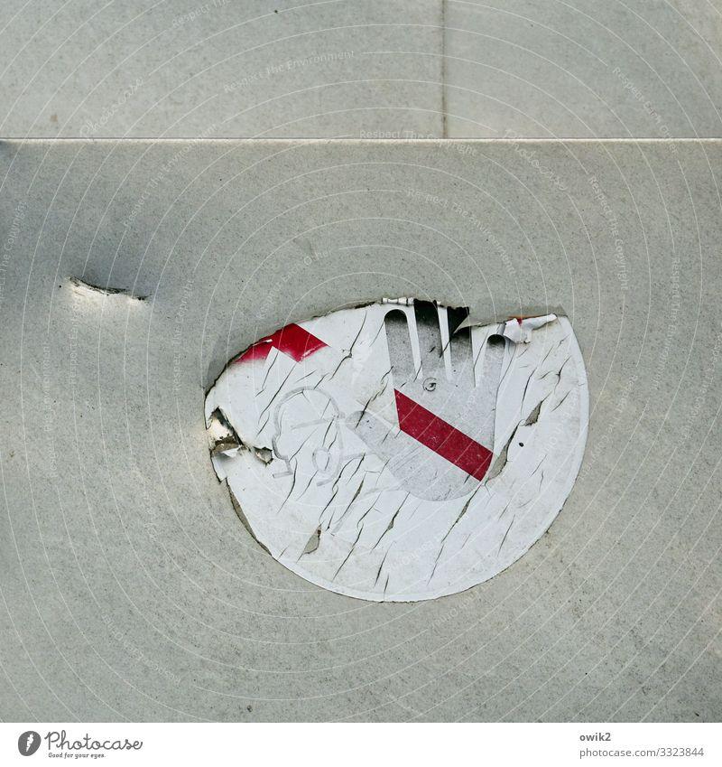 Altes Tabu Kopf Hand Etikett Piktogramm Metall Kunststoff Zeichen Schilder & Markierungen Hinweisschild Warnschild alt achtsam Wachsamkeit Verfall