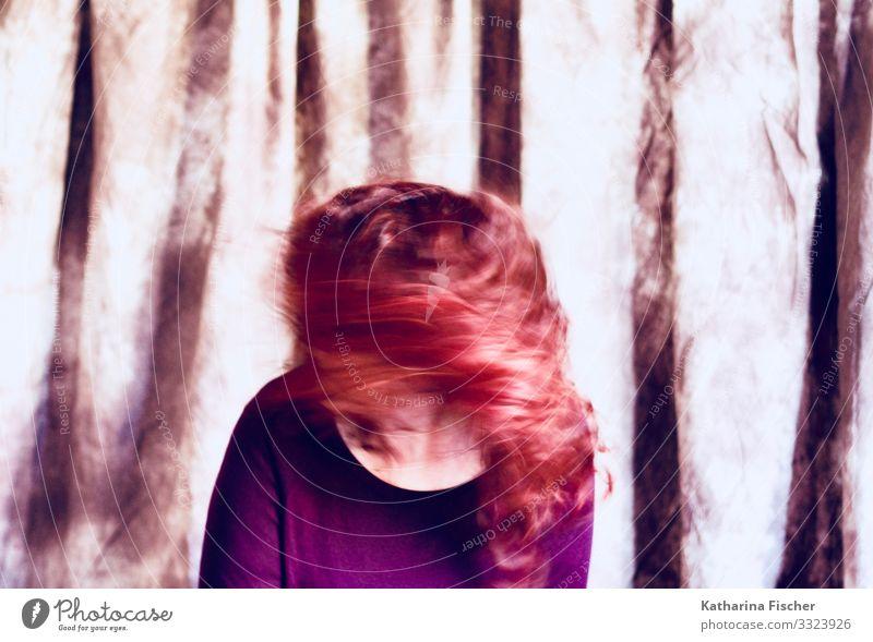 Let`s rock Frau Mensch weiß rot Hintergrundbild feminin Bewegung Kunst Haare & Frisuren braun Geschwindigkeit violett Pullover