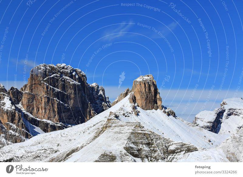 Drei Zinnen Umrundung Tourismus Ausflug Sommer Sonne Winter Berge u. Gebirge Natur Landschaft Wolken Schönes Wetter Baum Wald Sehenswürdigkeit Wahrzeichen hoch
