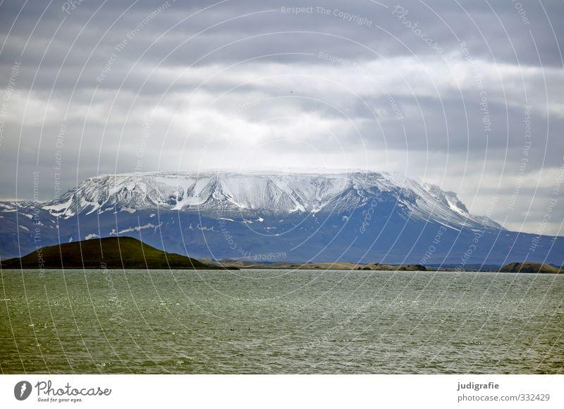 Island Umwelt Natur Landschaft Himmel Wolken Klima Eis Frost Felsen Berge u. Gebirge Vulkan See Mývatn außergewöhnlich dunkel fantastisch natürlich wild