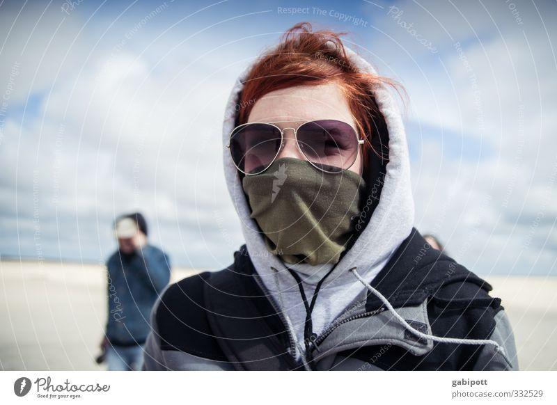Rømø | gegen den Wind Mensch Himmel Natur Jugendliche Ferien & Urlaub & Reisen Landschaft Erholung ruhig Strand Junge Frau Erwachsene Ferne Bewegung Freiheit