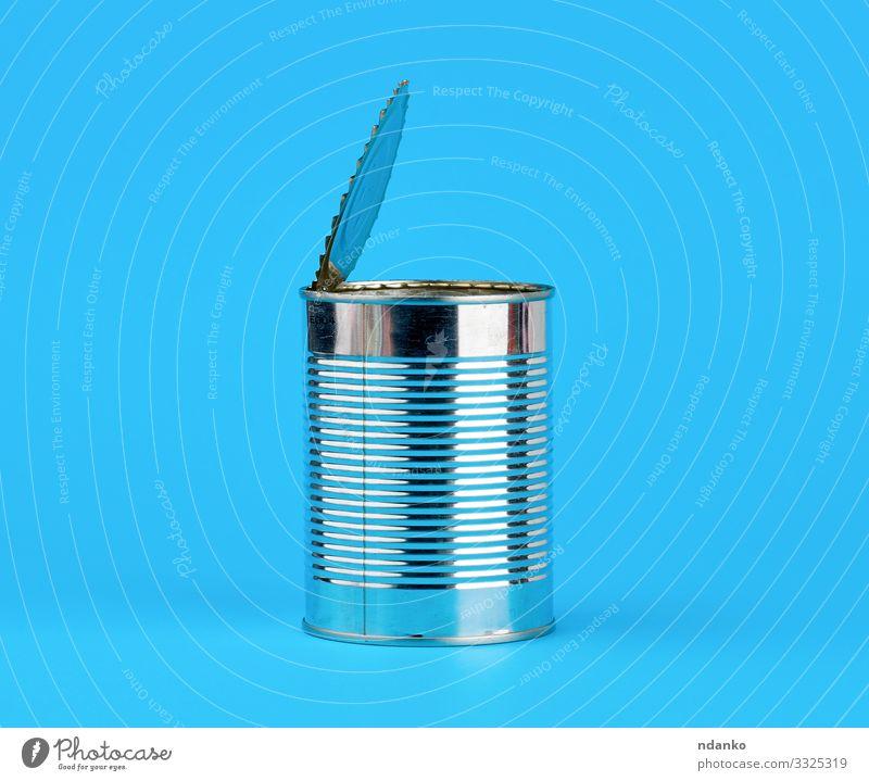 harte Eisendose für Lebensmittel öffnen Ernährung Design Industrie Container Verpackung Paket Dose Metall Stahl blau grau weiß Legierung Leichtmetall