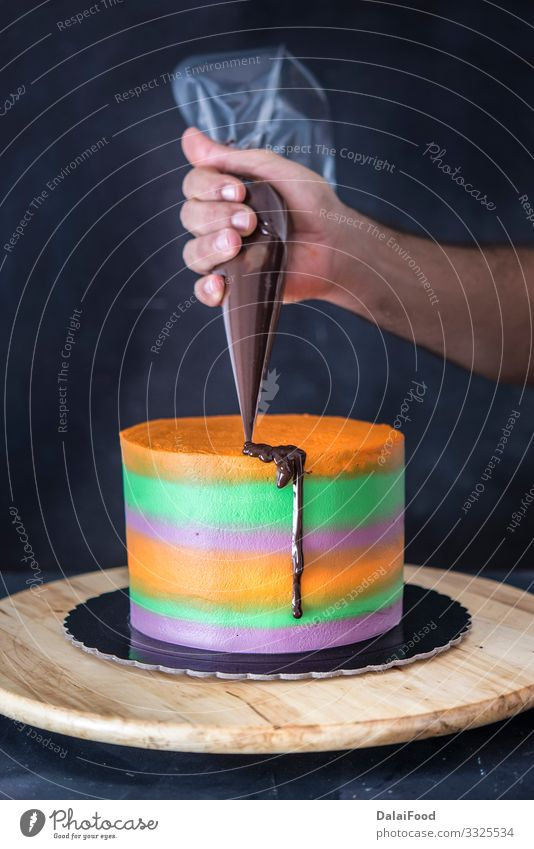 Kuchen aus Schokolade Dessert Essen Kakao Küche machen frisch lecker braun Hintergrund backen Bäckerei Koch Essen zubereiten Sahne kulinarisch Lebensmittel