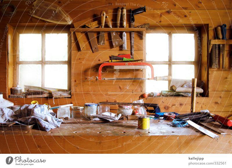 bei meister eder Arbeit & Erwerbstätigkeit Beruf Handwerker Arbeitsplatz Baustelle Hütte Werkstatt Werkzeug Ordnung Säge wekbank Holz Autofenster Topf Tuch